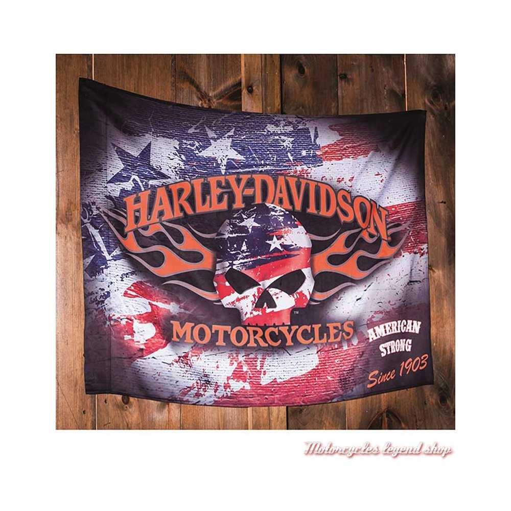 Drapeau décoratif Americana Harley-Davidson, skull Willie G., USA, 17S4906-2