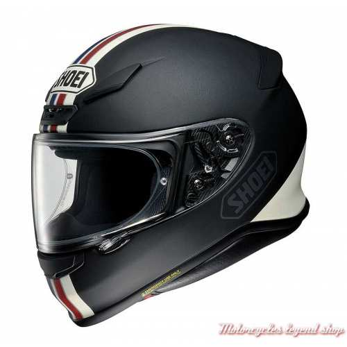 Casque NXR Equate TC-10 Shoei, noir mat, bandes bleu, blanc, rouge