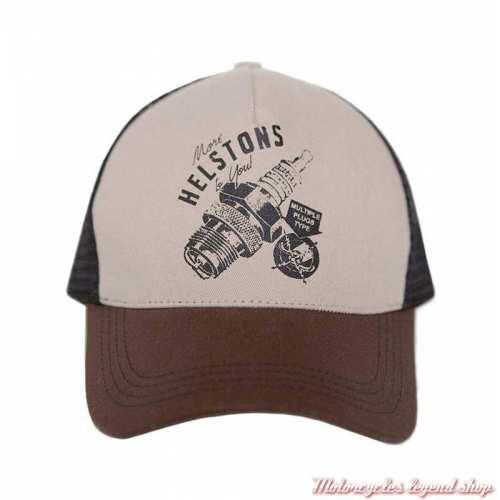 Casquette Trucker Sparks Helstons, beige, marron, noir
