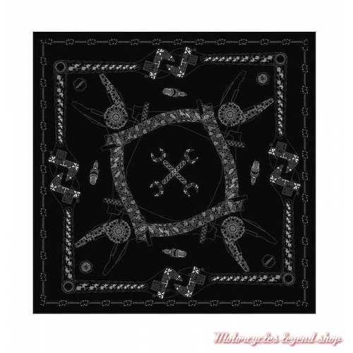 Foulard Tools Helstons mixte, polyester, 65 x 65 cm, noir et blanc,