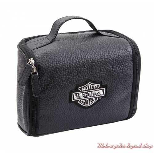 Trousse de toilette cuir noir Harley-Davidson à suspendre, 99508