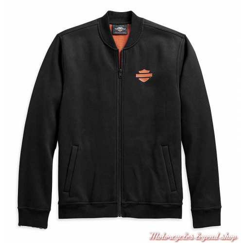 Veste polaire Vertical Stripe Harley-Davidson homme, noir, orange, coupe teddy, coton, polyester, 98407-20VM