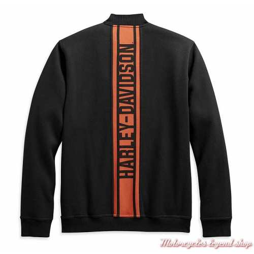 Veste polaire Vertical Stripe Harley-Davidson homme, noir, orange, coupe teddy, coton, polyester, dos, 98407-20VM