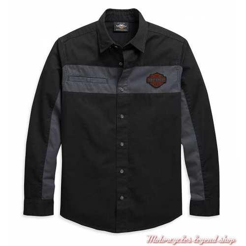 Chemise Copperblock Harley-Davidson homme, manches longues, noir, gris, coton, 99081-20VM