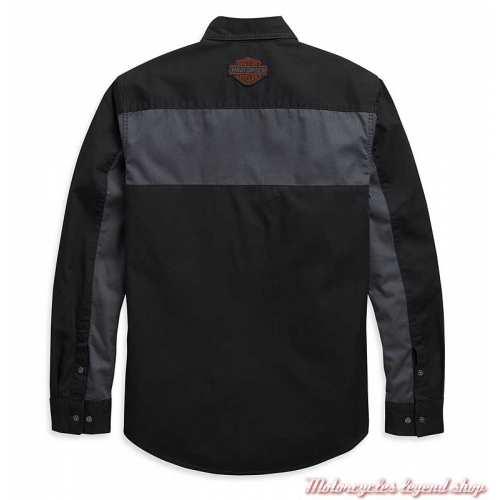 Chemise Copperblock Harley-Davidson homme, manches longues, noir, gris, coton, dos, 99081-20VM