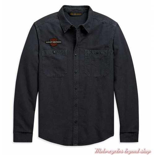 Chemise Vintage Eagle Harley-Davidson homme, gris, manches longues, coton, H-D 1903, 99103-20VM