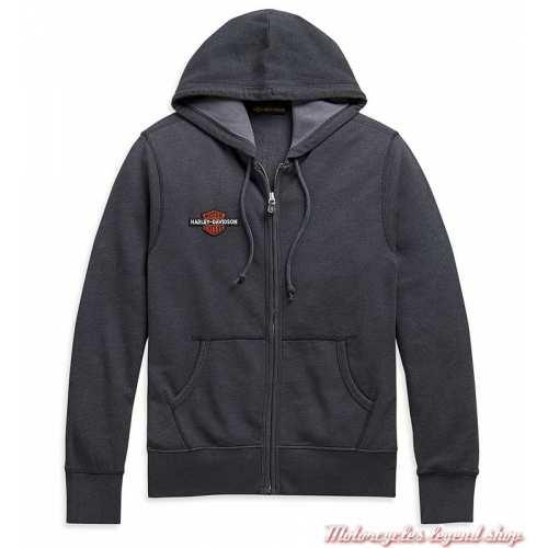 Sweatshirt Vintage Eagle Harley-Davidson homme, gris, zippé, capuche, coton, H-D 1903, 99099-20VM