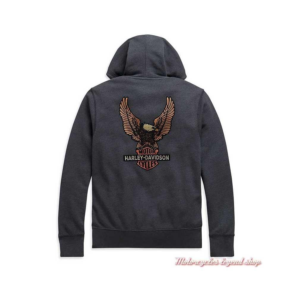 Sweatshirt Vintage Eagle Harley-Davidson homme, gris, zippé, capuche, coton, H-D 1903, dos, 99099-20VM