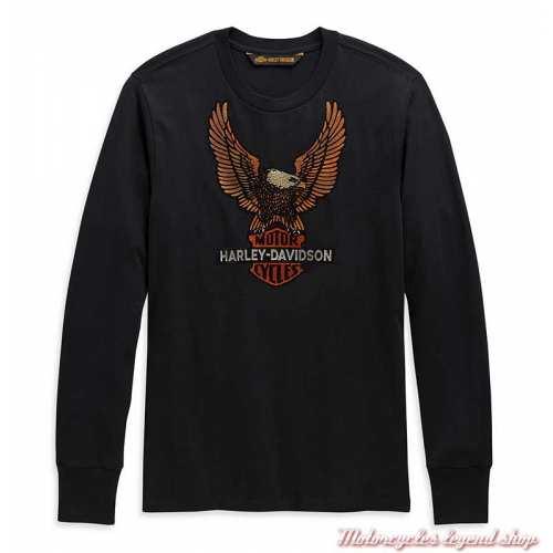 Tee-shirt Vintage Eagle Harley-Davidson homme, noir, manches longues, coton, H-D 1903, 99098-20VM