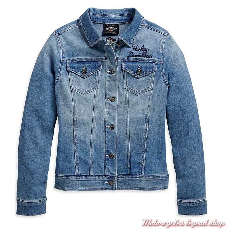 Veste en jeans Harley-Davidson femme bleu délavé, brodé, 98410-20VW