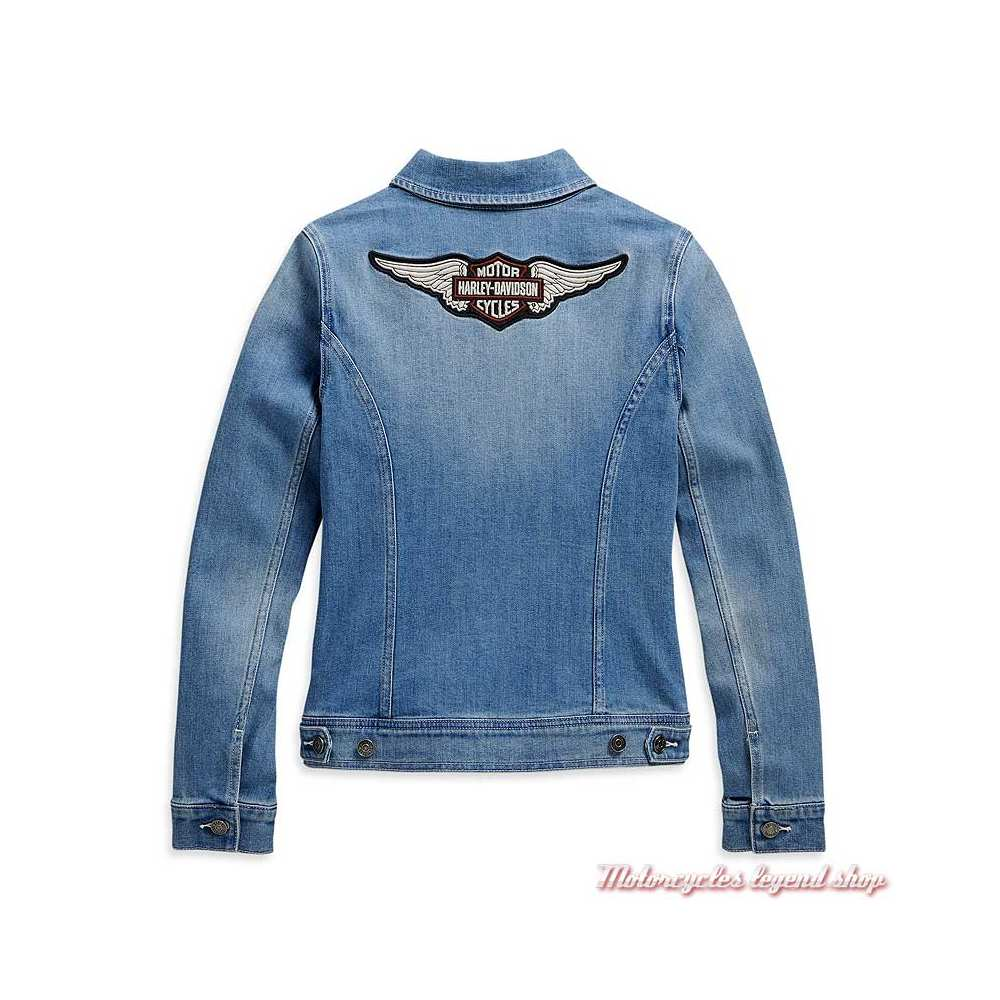 Veste en jeans Harley-Davidson femme bleu délavé, brodé, dos, 98410-20VW