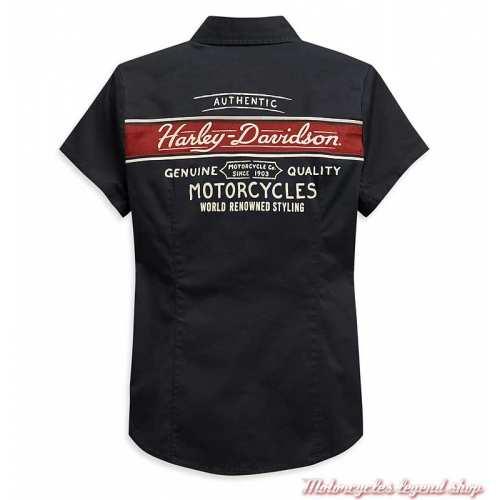 Chemisier Washed Harley-Davidson femme, manches courtes, noir, brique, coton, dos, 99122-20VW