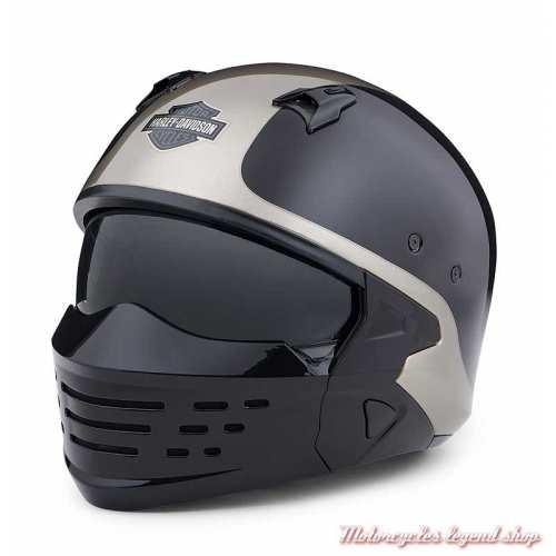 Casque Sport Glide 2 en 1 Harley-Davidson, noir, gris, 3/4 et masque, 98176-20EX