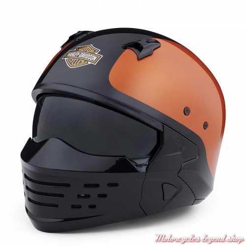 Casque Sport Glide 2 en 1 Harley-Davidson, orange, noir, 3/4 et masque, 98371-20EX