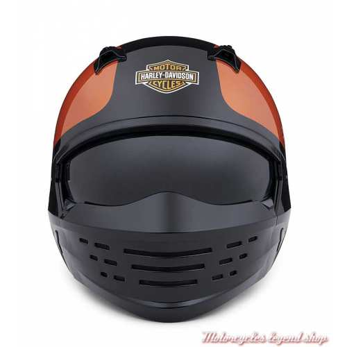 Casque Sport Glide 2 en 1 Harley-Davidson, orange, noir, 3/4 et masque, face, 98371-20EX