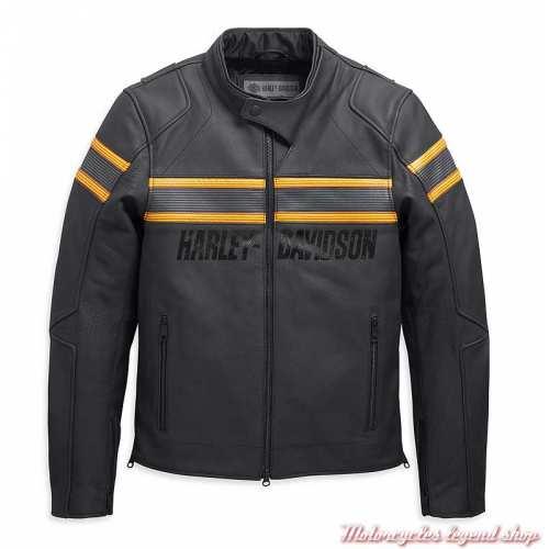 Blouson cuir Sidari Harley-Davidson homme, noir, bandes jaunes, homologué CE, 98007-20EM
